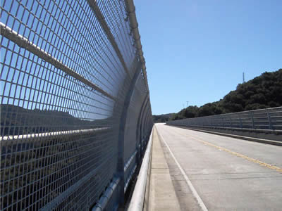 This is a bridge with welded wire arch fence.