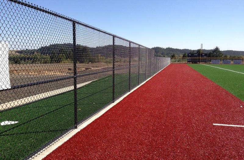 Black chain link fence for sport fields.