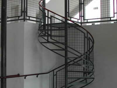 This Is A Spiral Staircase With Welded Wire Stair Fence.