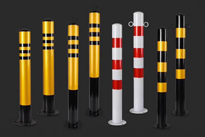 There are eight different colors steel traffic cylinders.