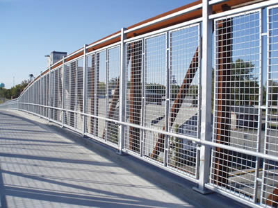 This is a overpass with welded wire fence.